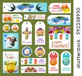 easter tag and label set.... | Shutterstock .eps vector #592338950