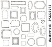 set of vintage photo frames ... | Shutterstock . vector #592339193