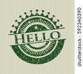 green hello rubber grunge... | Shutterstock .eps vector #592340390