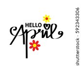hello april inscription.... | Shutterstock .eps vector #592343306