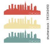 Chicago Skyline Silhouette Cit...