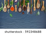 various of spices and herbs in... | Shutterstock . vector #592348688