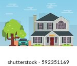 detailed flat style american... | Shutterstock .eps vector #592351169