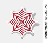 spider on web illustration.... | Shutterstock .eps vector #592353293