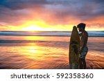 The Sun Rises Over The Ocean O...