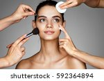 smiling girl surrounded by...   Shutterstock . vector #592364894