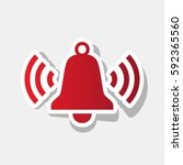 ringing bell icon. vector. new... | Shutterstock .eps vector #592365560
