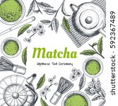 vector frame with tea. japanese ... | Shutterstock .eps vector #592367489