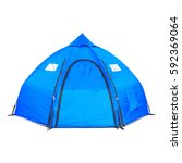 Small photo of Dome Tent Isolated on White Background. Blue Camping Tent on Clipping Path
