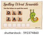 spelling word scramble game... | Shutterstock .eps vector #592374860