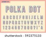 polka dot alphabet letters set. ... | Shutterstock .eps vector #592375133
