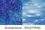 set 2 of blue abstract... | Shutterstock . vector #592375940