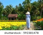 a woman walking on flower... | Shutterstock . vector #592381478