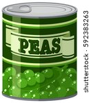 green peas in aluminum can... | Shutterstock .eps vector #592383263