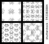 vector set of seamless doodles... | Shutterstock .eps vector #592383884