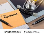 close up of doctor appointment  ... | Shutterstock . vector #592387913