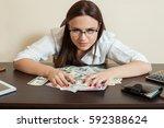 happy business woman hugs a lot ... | Shutterstock . vector #592388624