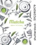 vector frame with tea. japanese ... | Shutterstock .eps vector #592390979