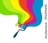 roller for painting with paint... | Shutterstock .eps vector #592394690