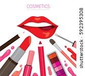 woman lip with lipsticks set ... | Shutterstock .eps vector #592395308