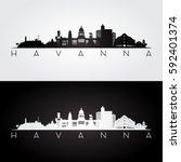 havana skyline and landmarks... | Shutterstock .eps vector #592401374