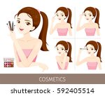 woman with step to apply eyes... | Shutterstock .eps vector #592405514
