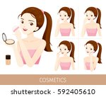 woman with step to use... | Shutterstock .eps vector #592405610