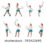 Woman Tennis Player Isolated O...