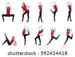 young gymnast exercising on... | Shutterstock . vector #592414418