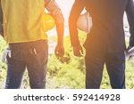 rear view of asian business man ... | Shutterstock . vector #592414928