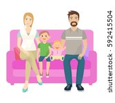 happy family of four  people... | Shutterstock .eps vector #592415504