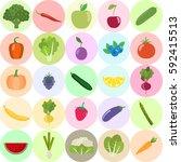 set of fresh healthy vegetables ... | Shutterstock .eps vector #592415513