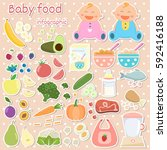 baby food sticker icons set.... | Shutterstock .eps vector #592416188