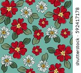 seamless floral pattern. cute... | Shutterstock .eps vector #592417178
