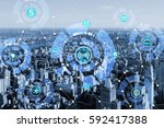 internet of things concept in... | Shutterstock . vector #592417388