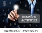 business man pointing hand on... | Shutterstock . vector #592422944