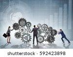 teamwork concept with... | Shutterstock . vector #592423898