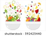 vegetable bowl. fruit bowl.... | Shutterstock .eps vector #592425440