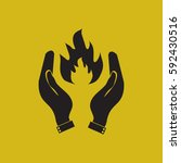 hand and fire.   Shutterstock .eps vector #592430516