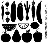 vegetables  fruits and berries  ... | Shutterstock .eps vector #592435274