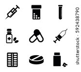 medication icons set. set of 9... | Shutterstock .eps vector #592438790