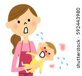 baby with fever | Shutterstock .eps vector #592443980