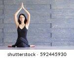 yoga girl on fitness class... | Shutterstock . vector #592445930