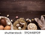 happy easter. easter eggs and... | Shutterstock . vector #592448939