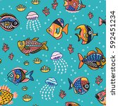 seamless pattern with funny... | Shutterstock .eps vector #592451234