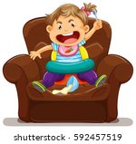 young toddler making mess on... | Shutterstock .eps vector #592457519