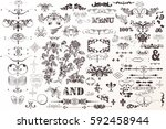 big decorative collection of... | Shutterstock .eps vector #592458944