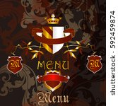 luxury menu design in heraldic... | Shutterstock .eps vector #592459874