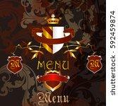 luxury menu design in heraldic... | Shutterstock .eps vector #592459874