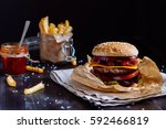 fresh delicious burgers with... | Shutterstock . vector #592466819